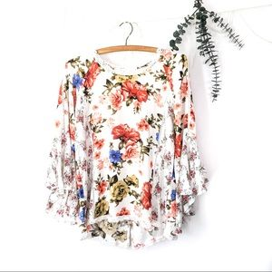Bell Sleeve Solitaire Floral Blouse